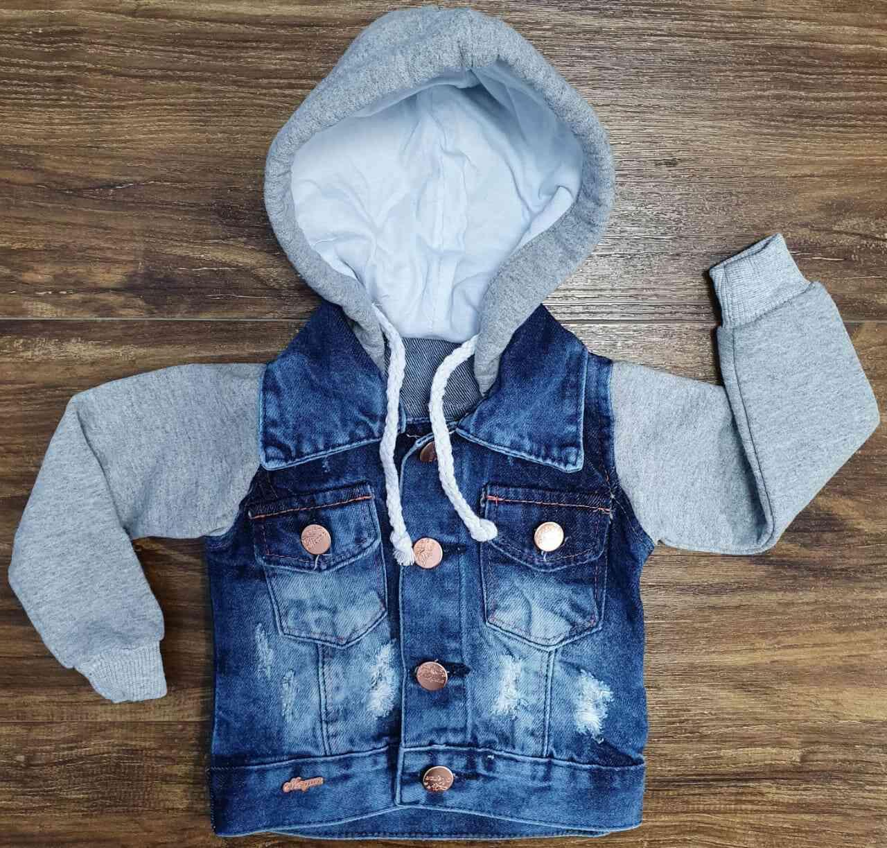 Jaqueta Jeans Com Capuz Infantil