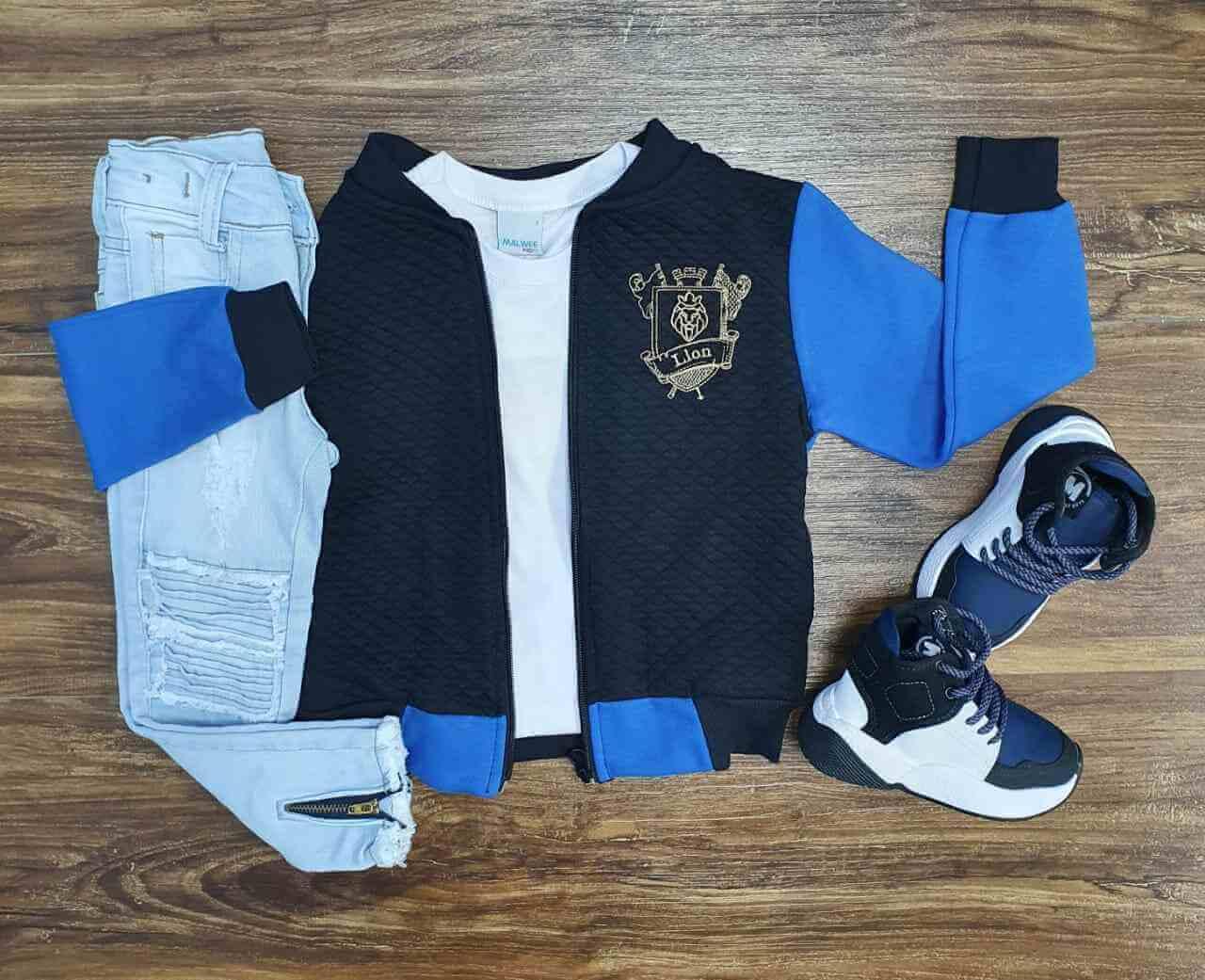 Jaqueta Lion com Camiseta e Calça Jeans Infantil