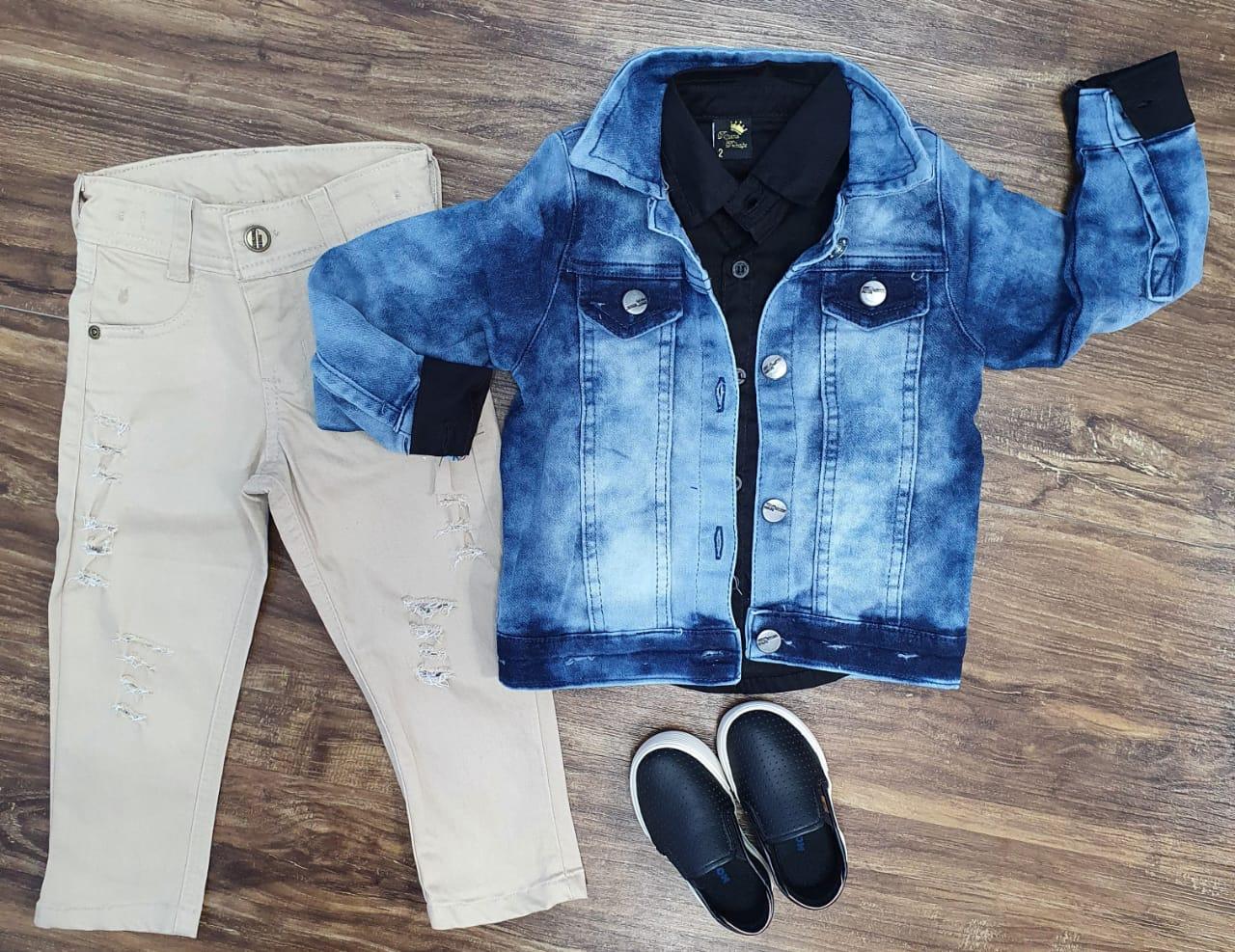 Jaqueta Jeans Bolso mais Camisa com Calça Infantil