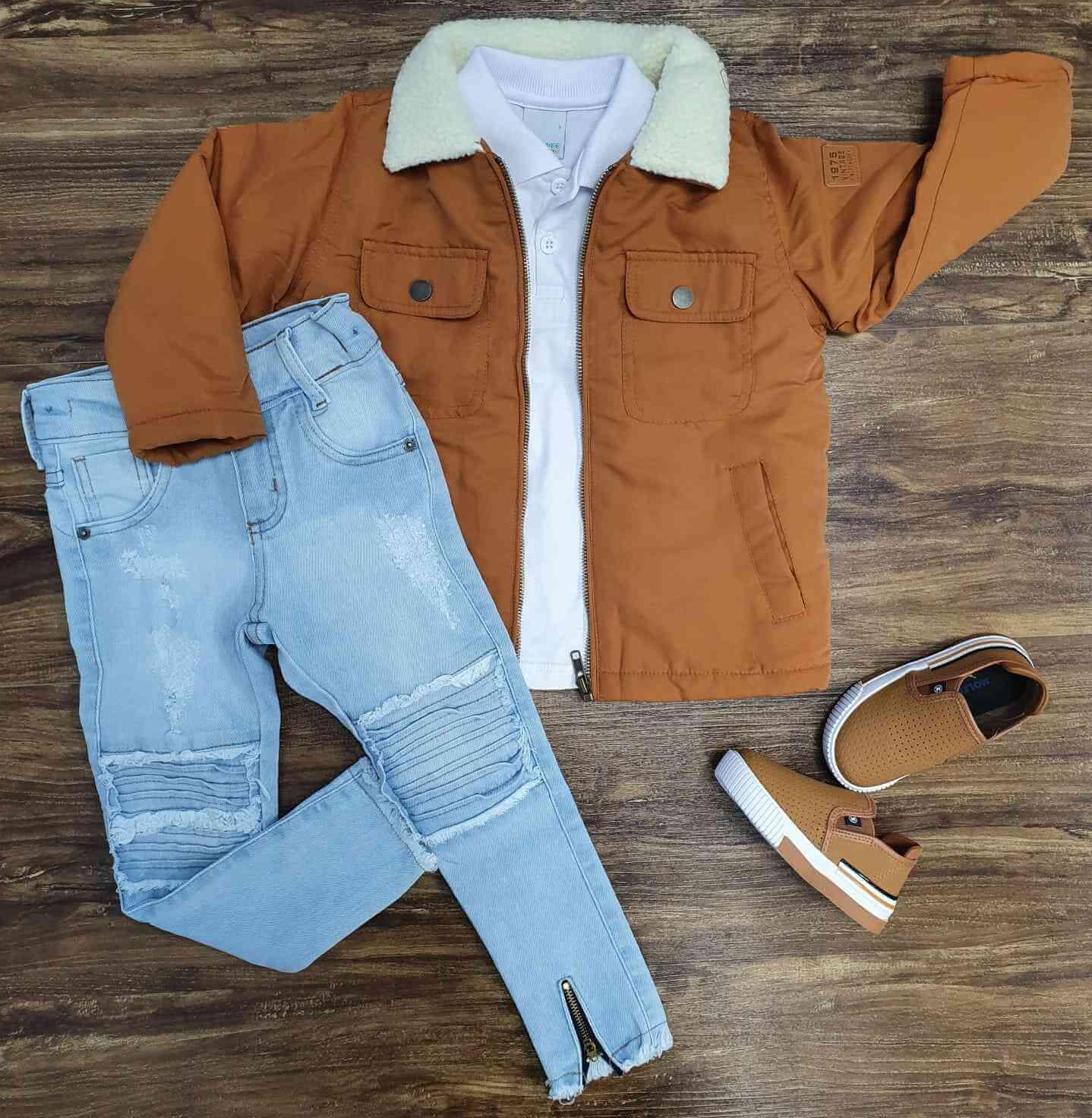 Jaqueta Marrom com Polo e Calça Jeans Infantil