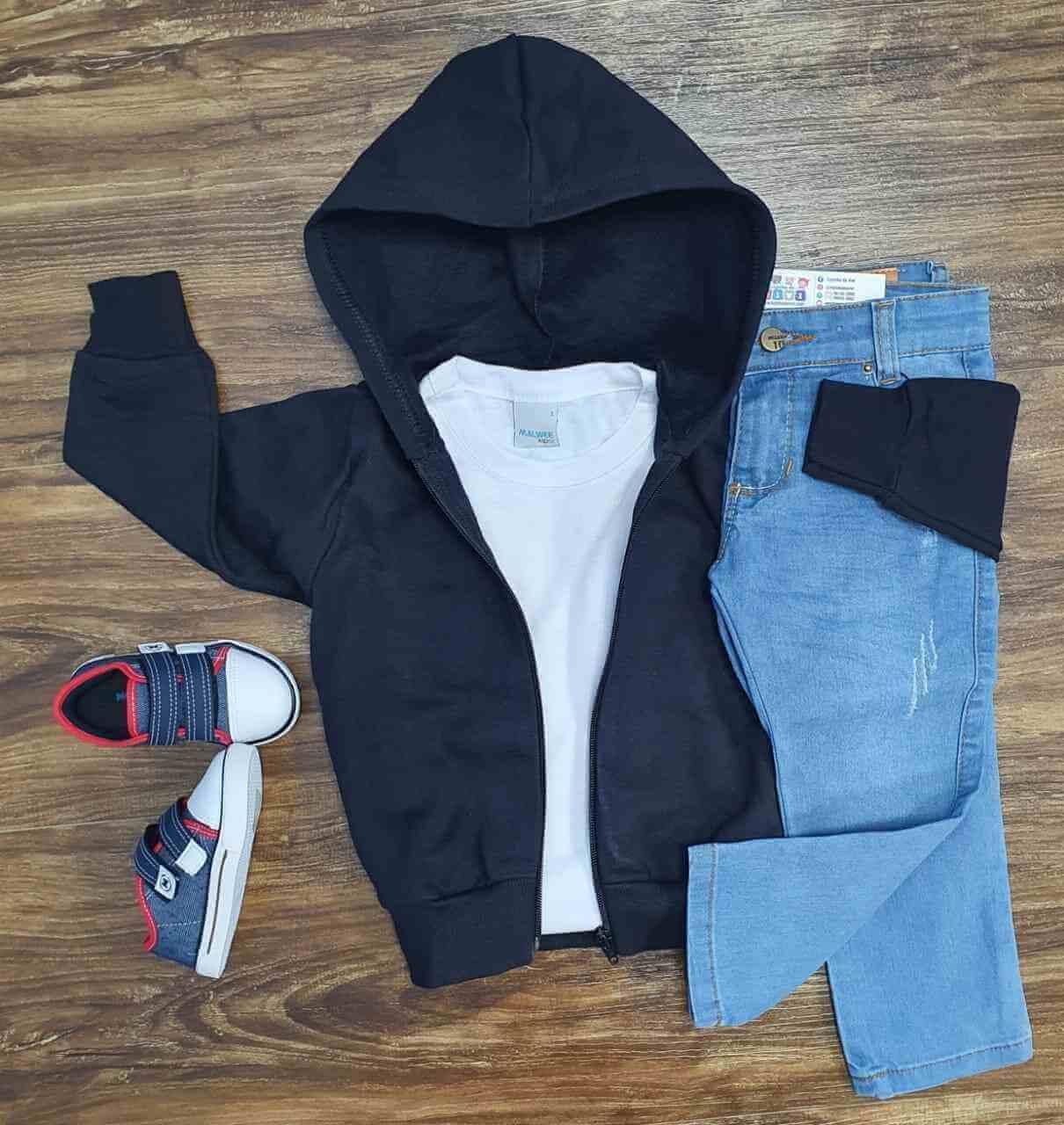 Jaqueta Preta com Camiseta e Calça Jeans Infantil