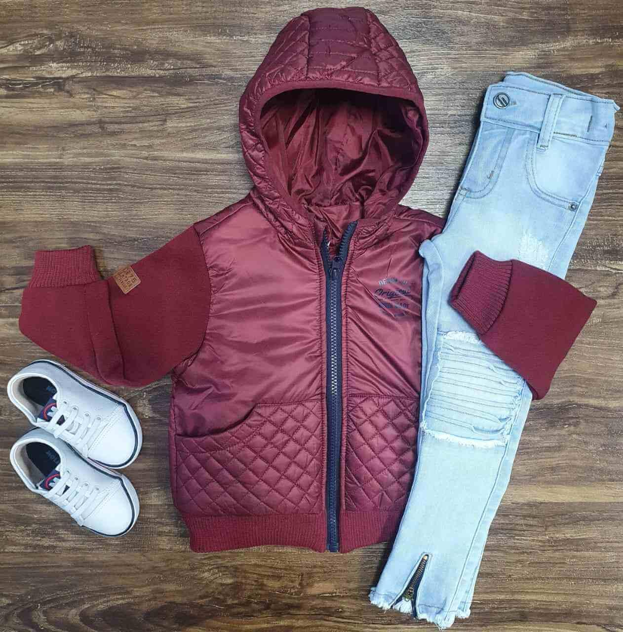 Jaqueta Vinho Com Calça Jeans Clara Infantil