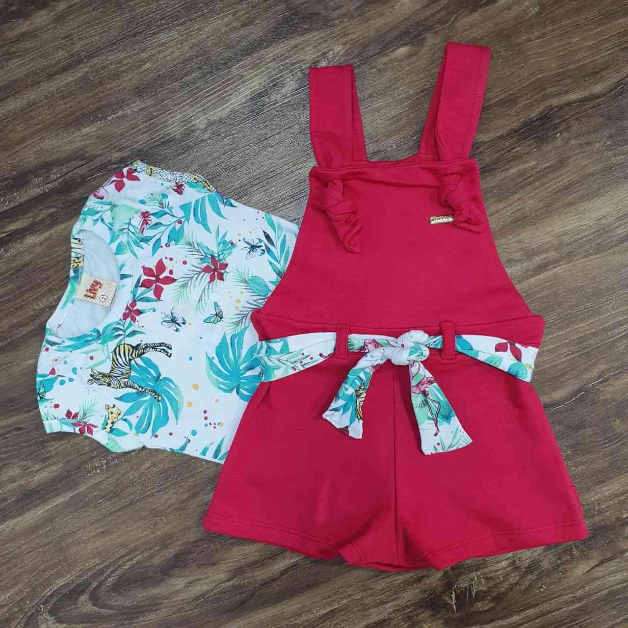Jardineira Bermuda com Blusa Infantil