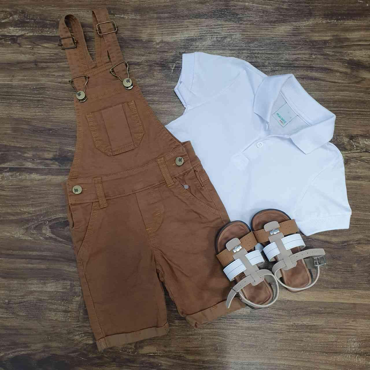 Jardineira Bermuda com Camisa Polo Infantil