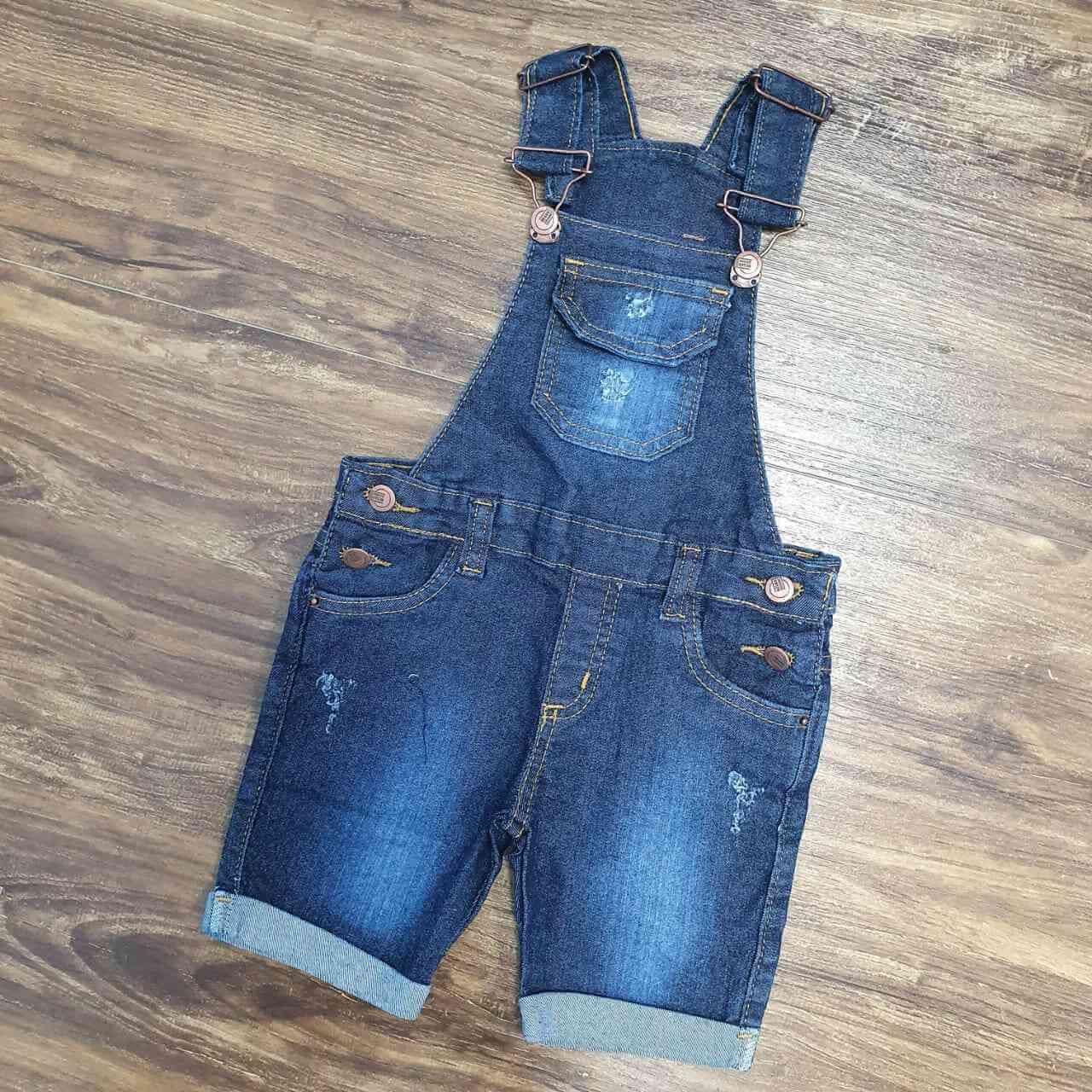 Jardineira Bermuda Jeans Infantil