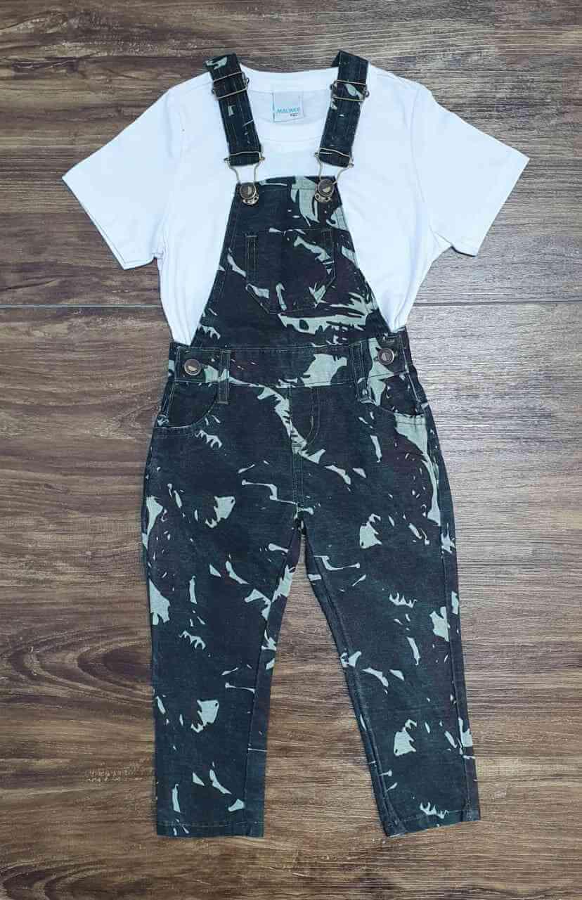 Jardineira Calça Camuflada com Camiseta Infantil