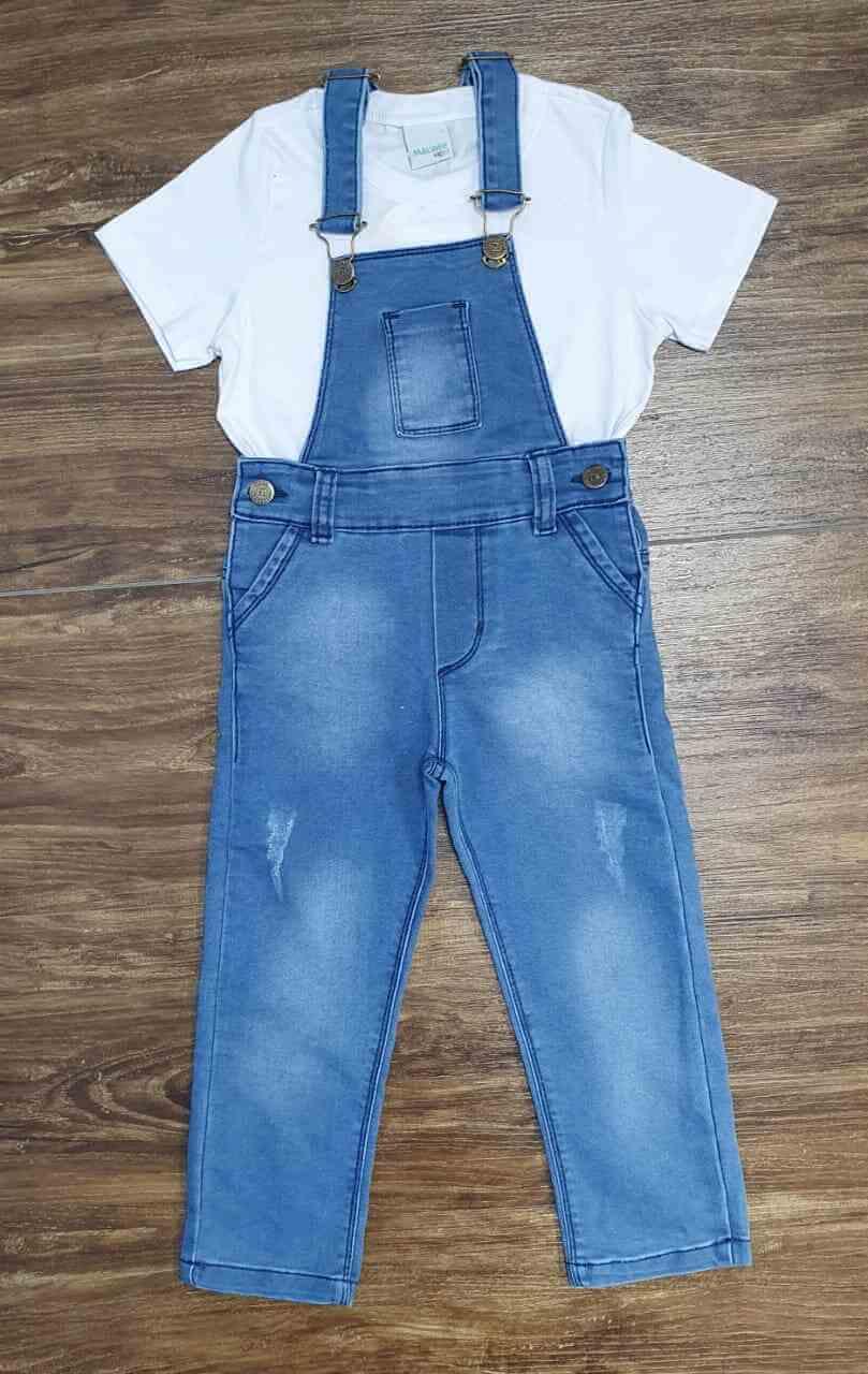 Jardineira Calça com Camiseta Branca Infantil