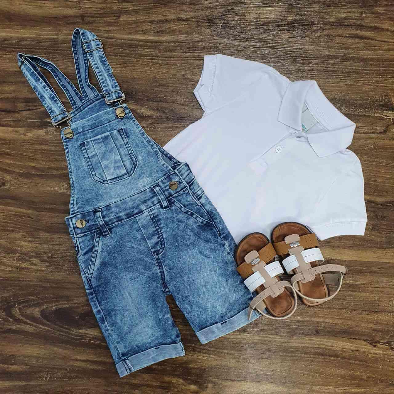 Jardineira Jeans com Polo Branca Infantil