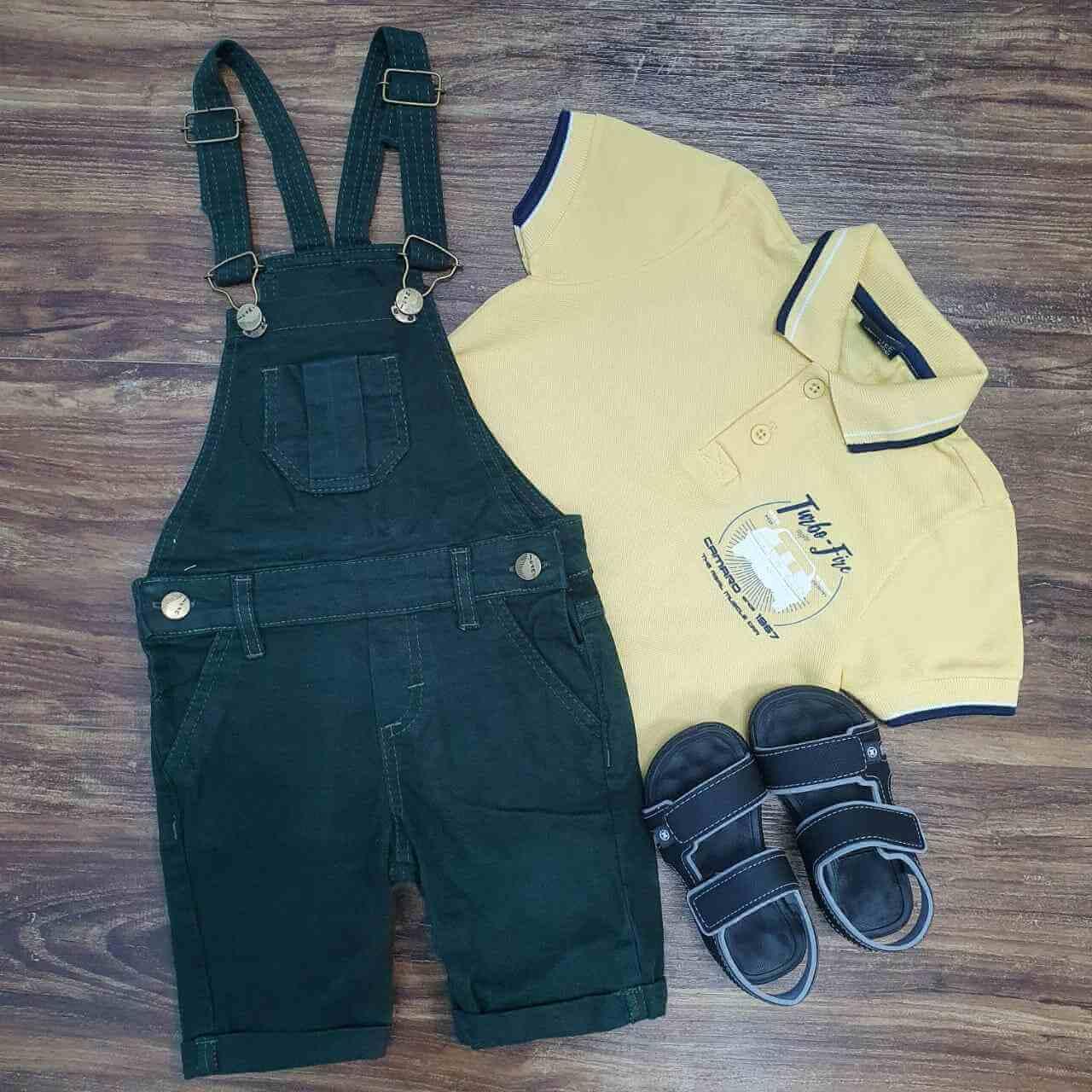 Jardineira Verde com Polo Amarela Infantil