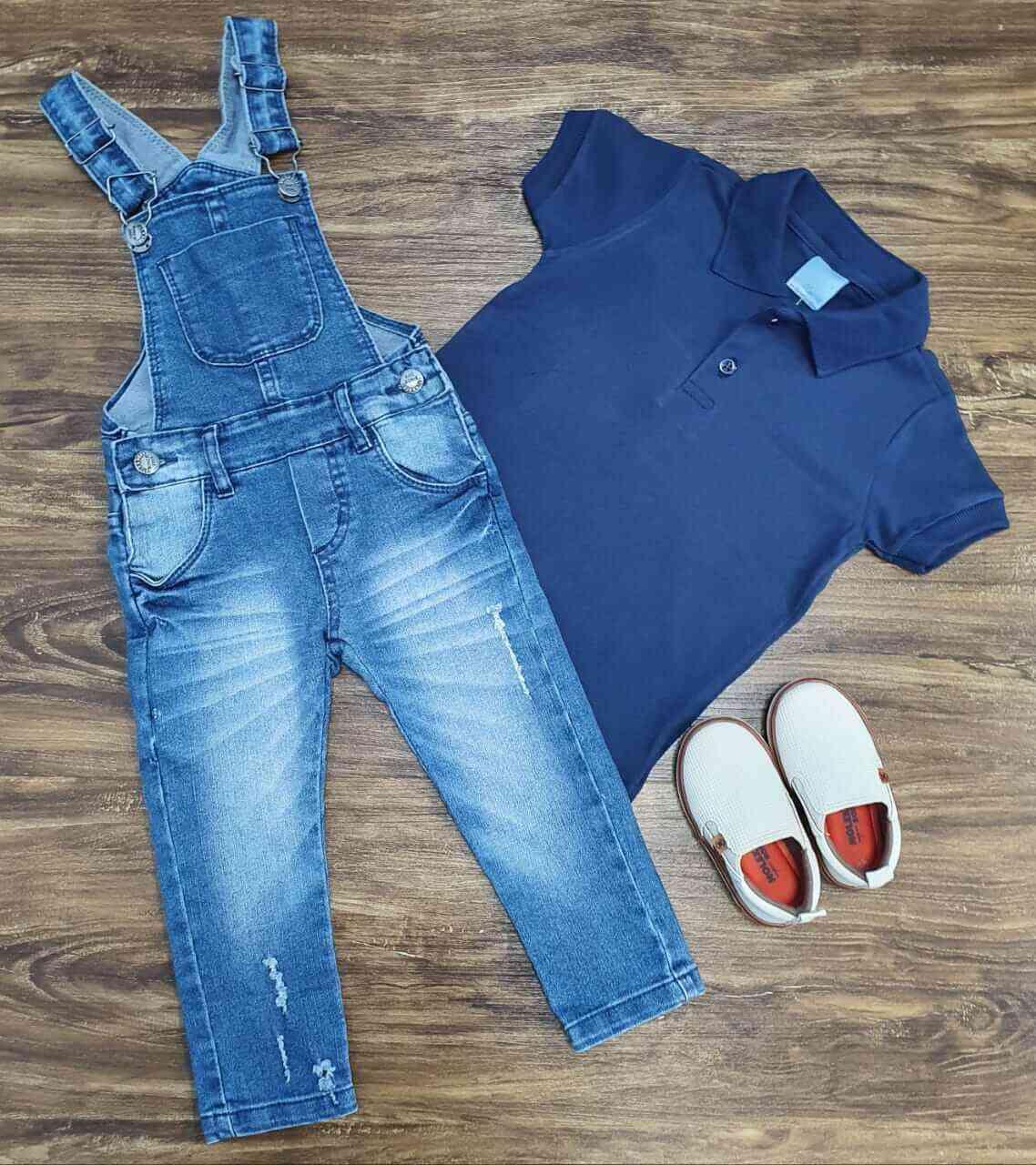 Jardineira Jeans com Camisa Polo Azul Infantil