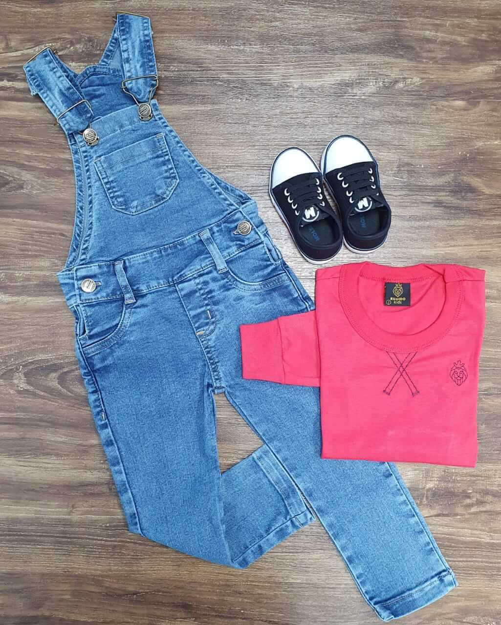 Jardineira Jeans Com Camiseta Manga Longa Infantil