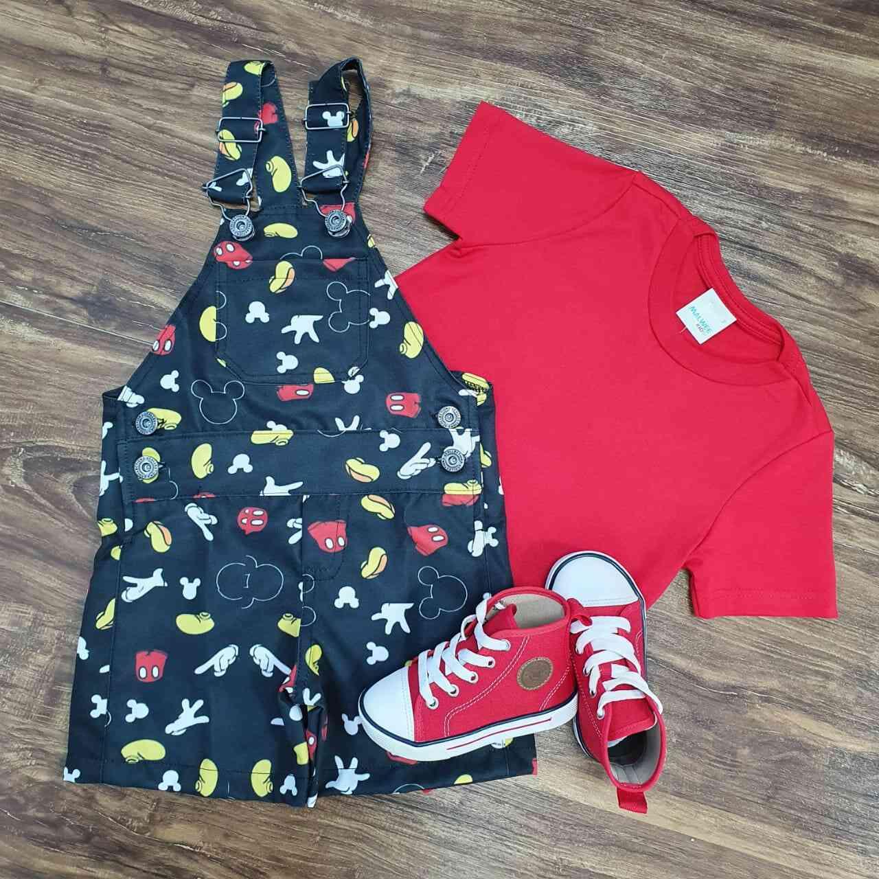 Jardineira Mickey com Camiseta Vermelha Infantil