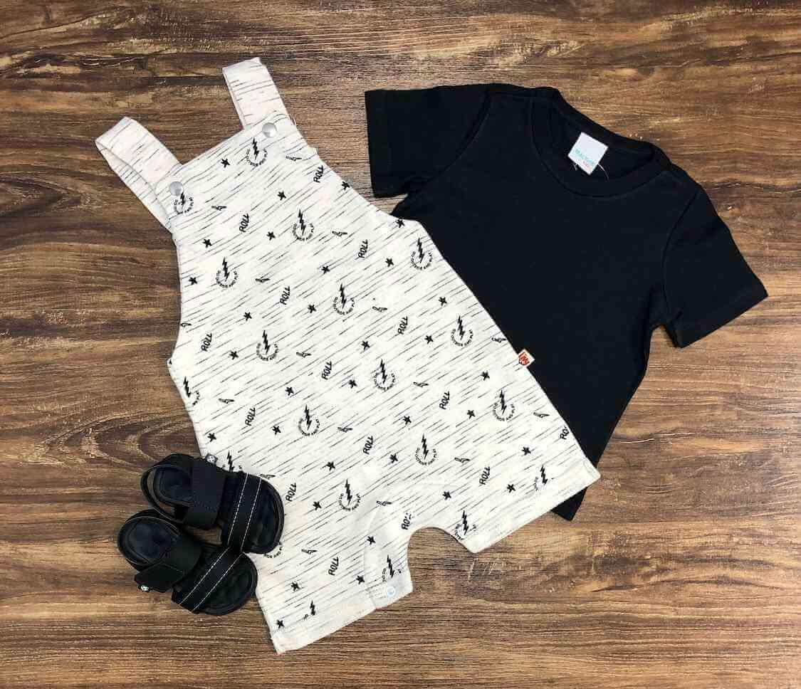Jardineira Roll com Camiseta Infantil
