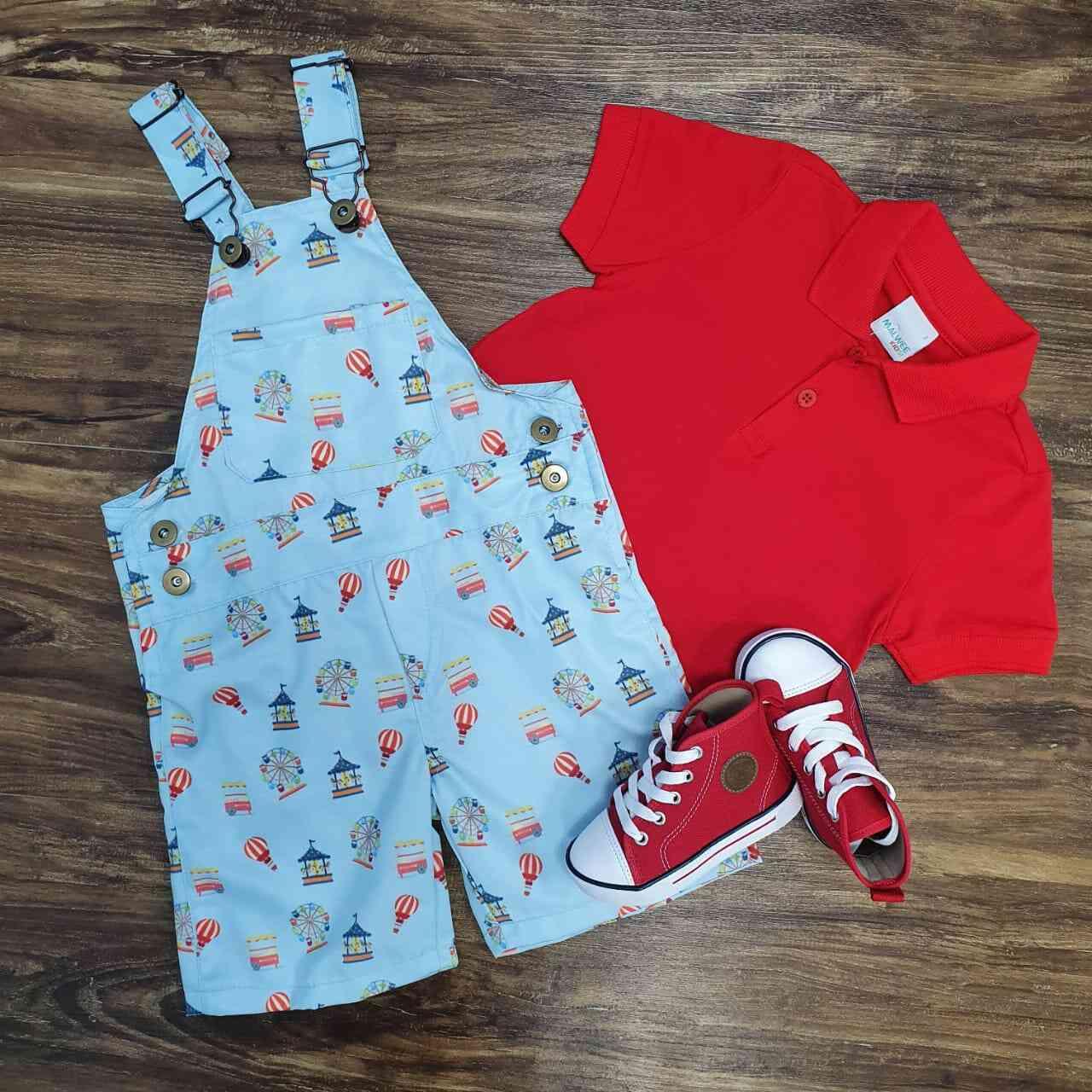 Jardineira Parque de Diversões com Camisa Polo Infantil
