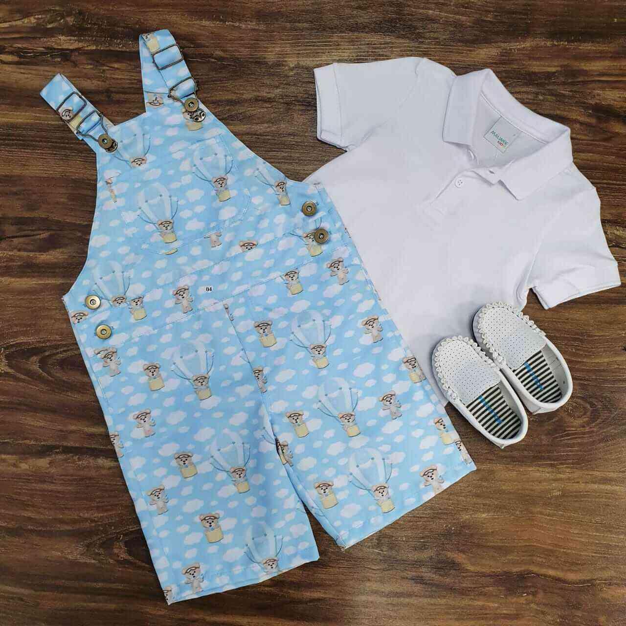 Jardineira Urso Baloeiro com Camisa Polo Branca Infantil
