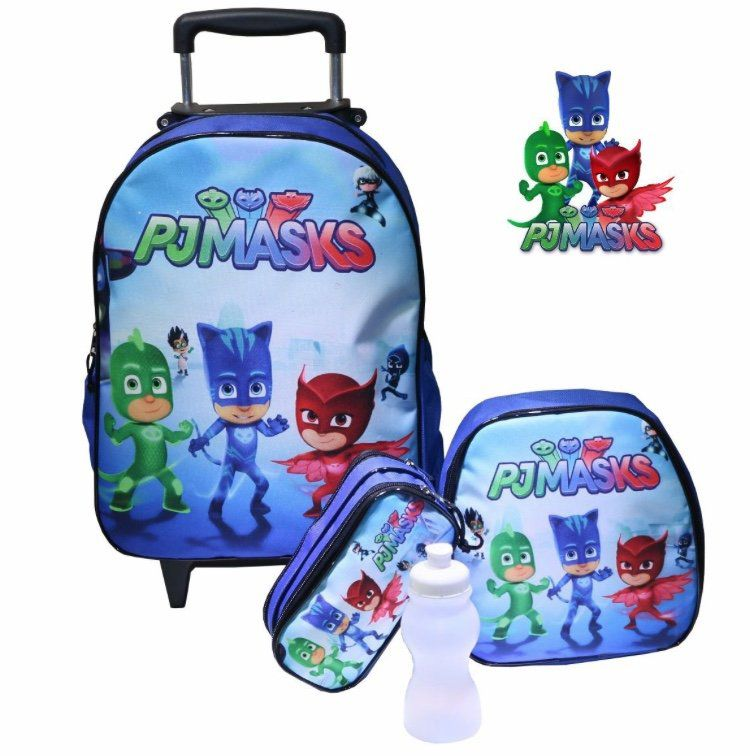 b1bae2d1b Kit Mochila Rodinhas Lancheira e Estojo Heróis de Pijamas - PJ Masks