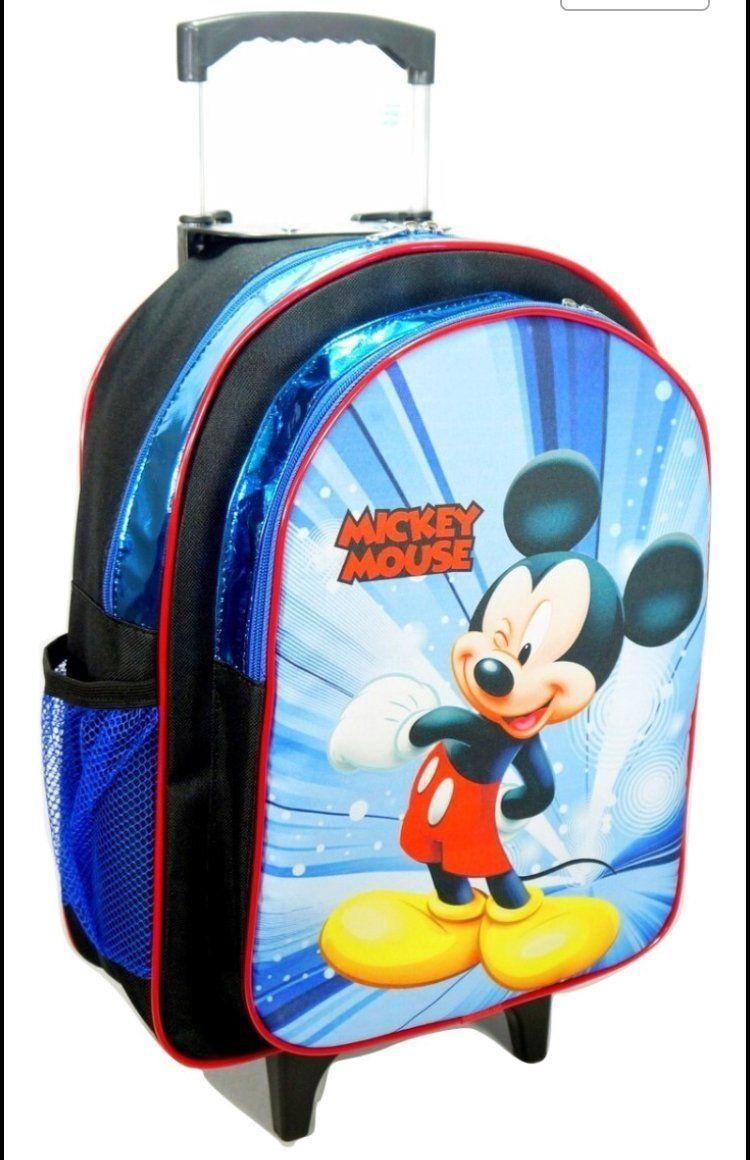 Kit Mochila Rodinhas Lancheira e Estojo Mickey Mouse