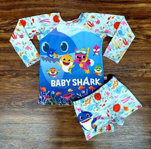 Kit Praia Baby Shark - Sunga e Camiseta UV