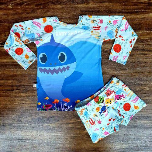 Kit Praia Baby Shark - Sunga e Camiseta UV