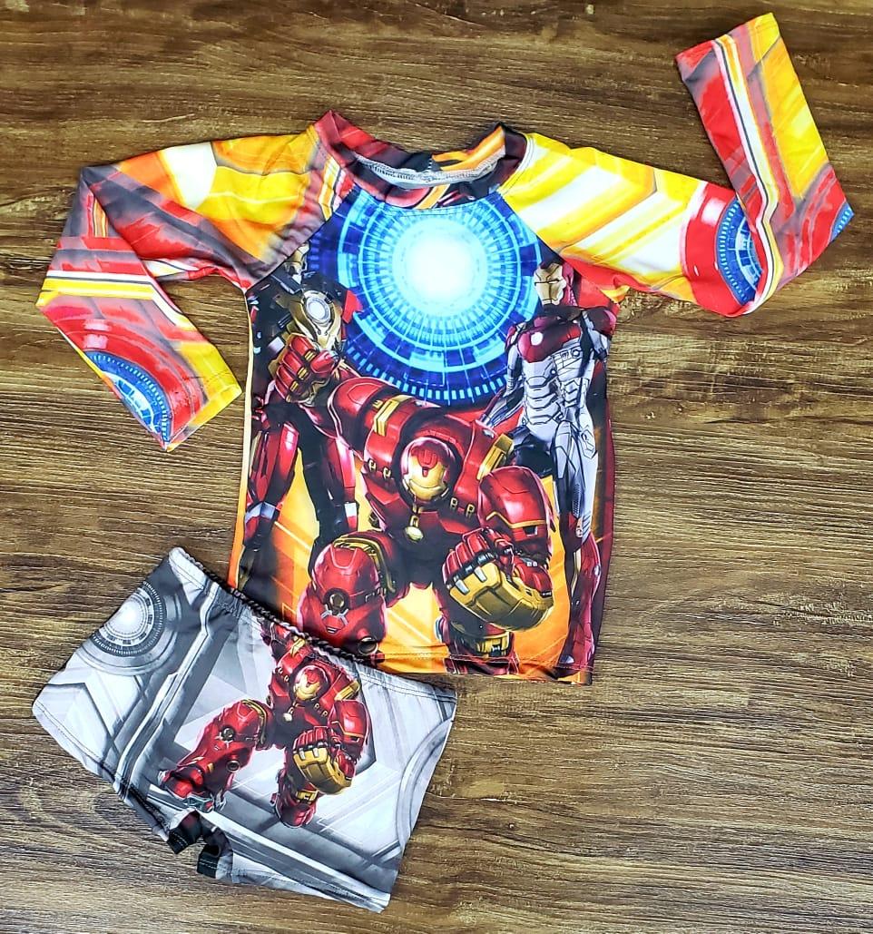 Kit Praia Homem de Ferro - Sunga e Camiseta UV