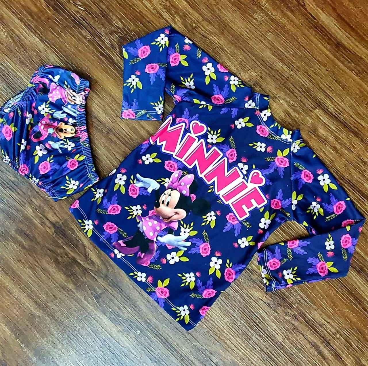 Kit Praia Minnie - Calcinha e Camiseta UV
