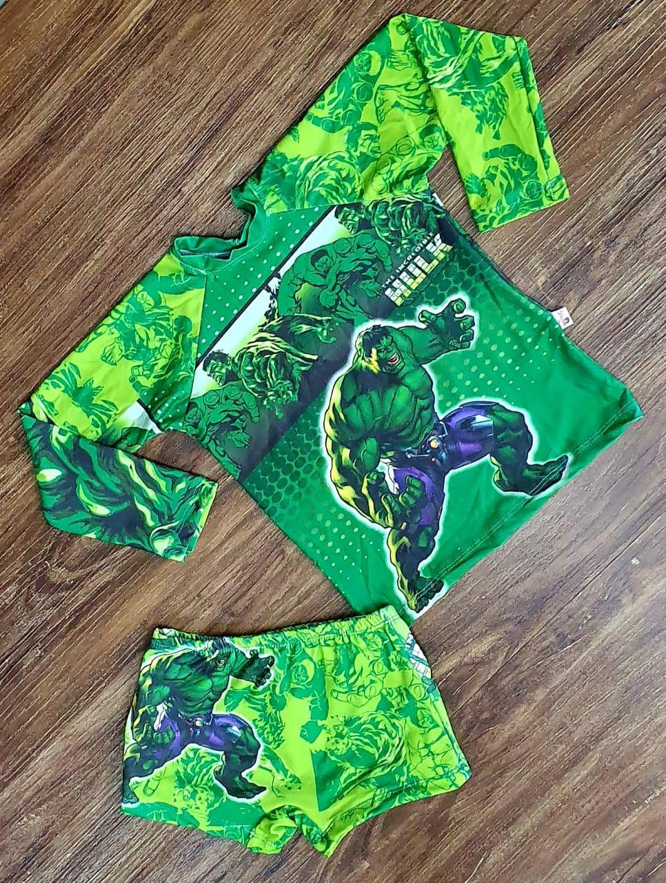 Kit Praia O Incrível Hulk - Sunga e Camiseta UV