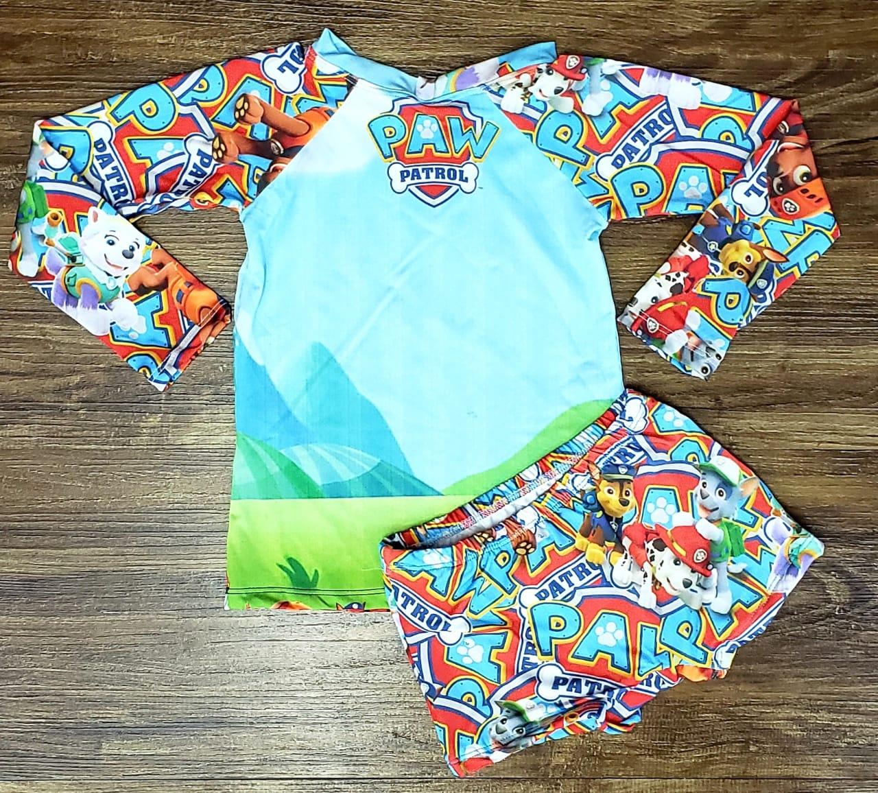 Kit Praia Patrulha Canina - Sunga e Camiseta UV