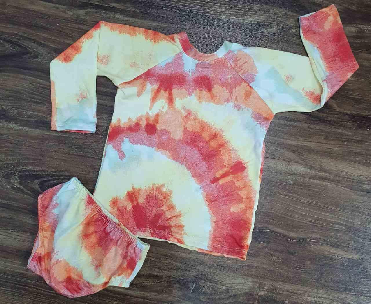 Kit Praia Tye Dye Laranja Infantil