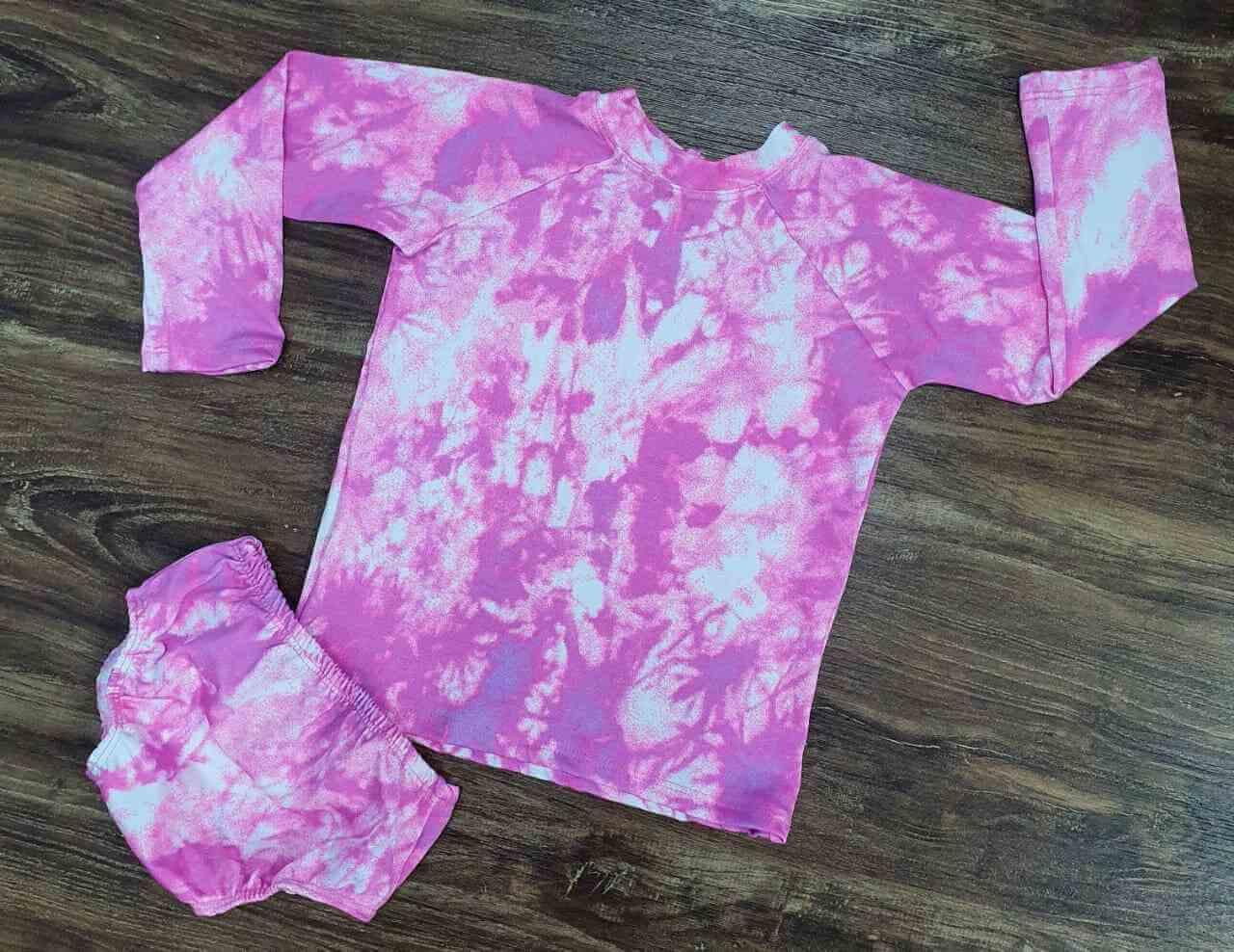 Kit Praia Tye Dye Rosa Infantil