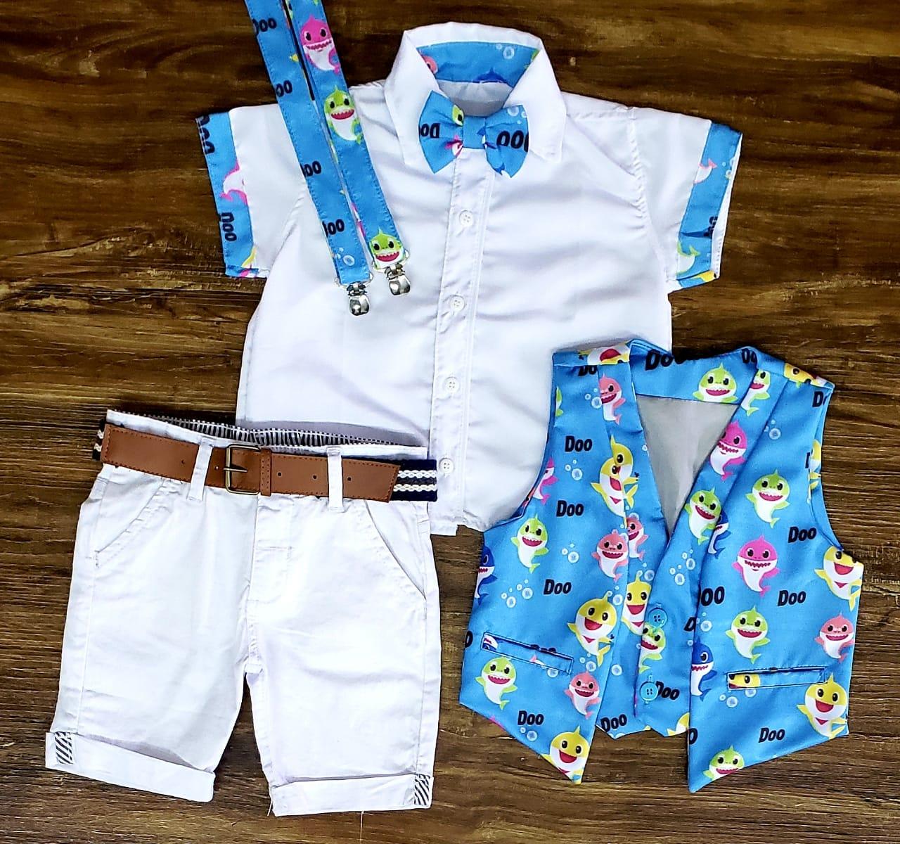Conjunto Colete Baby Shark Branco Infantil