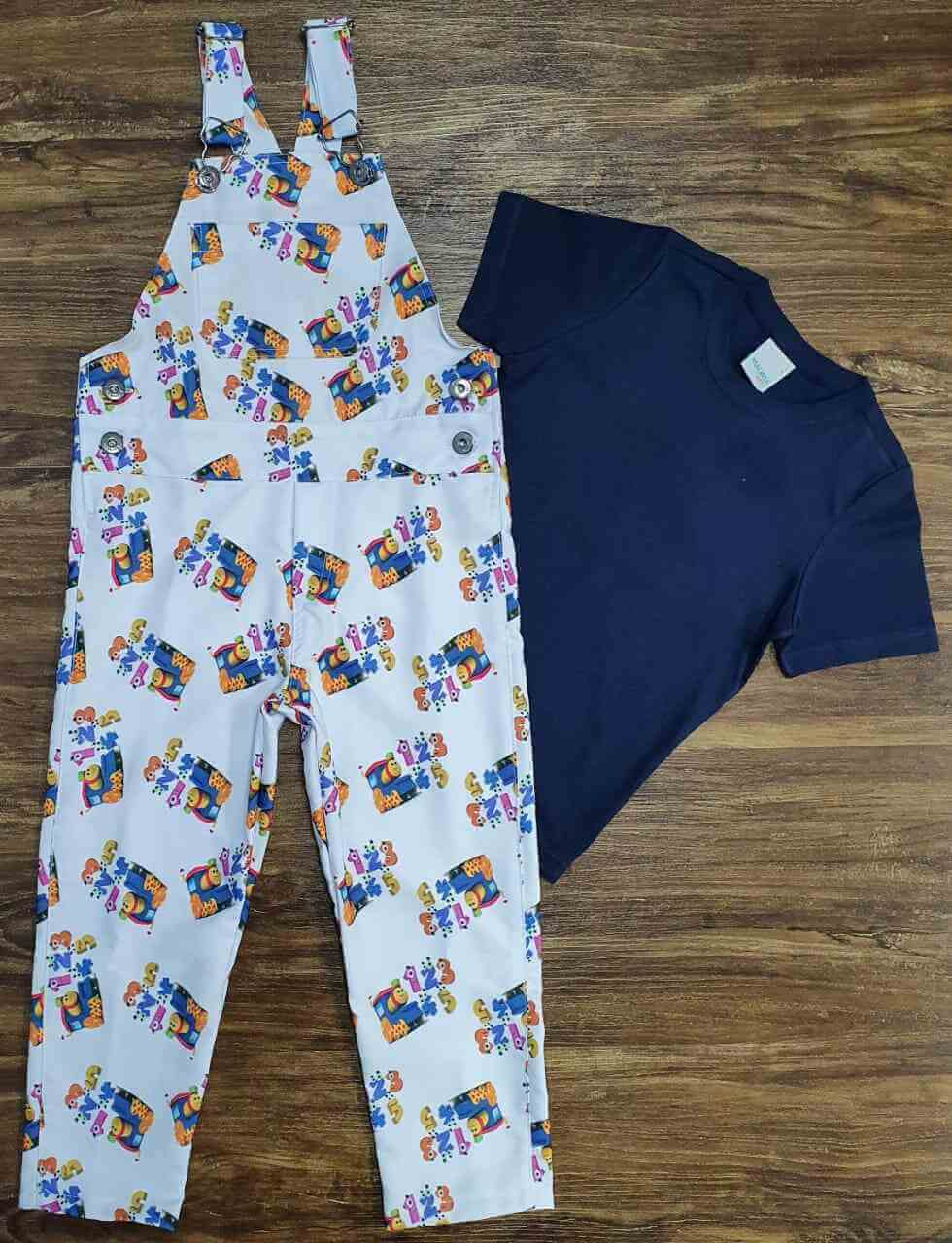 Look Bob o Trem Com Camisa Azul Básica Infantil