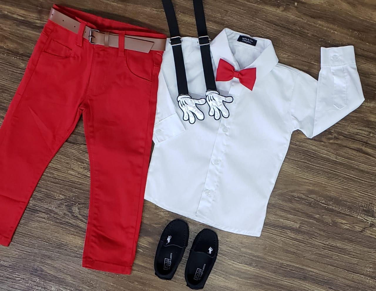Conjunto Calça Mickey Básico Longa Branco Infantil