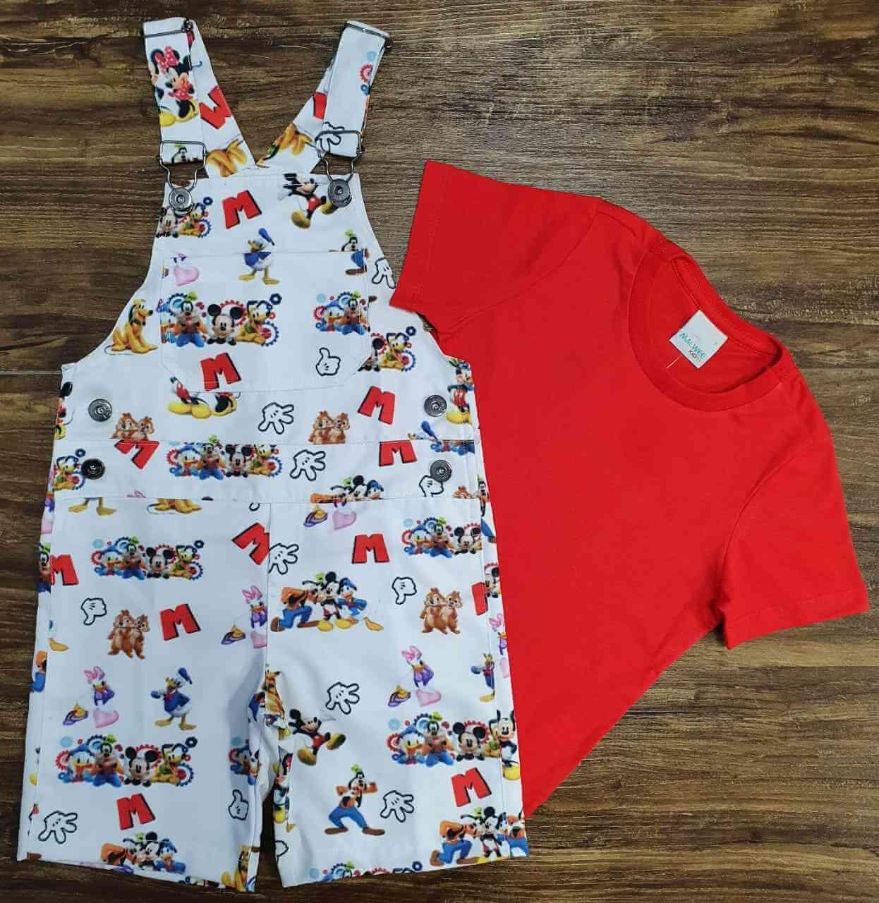 Look Mickey Amigos com Camiseta Vermelha Infantil