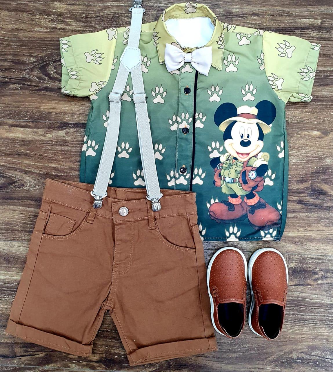 Conjunto Marrom Mickey Safari Musgo Infantil