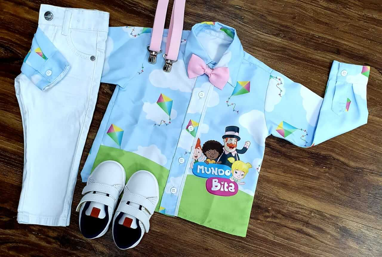 Conjunto Calça Mundo Bita Tradicional Branco Infantil