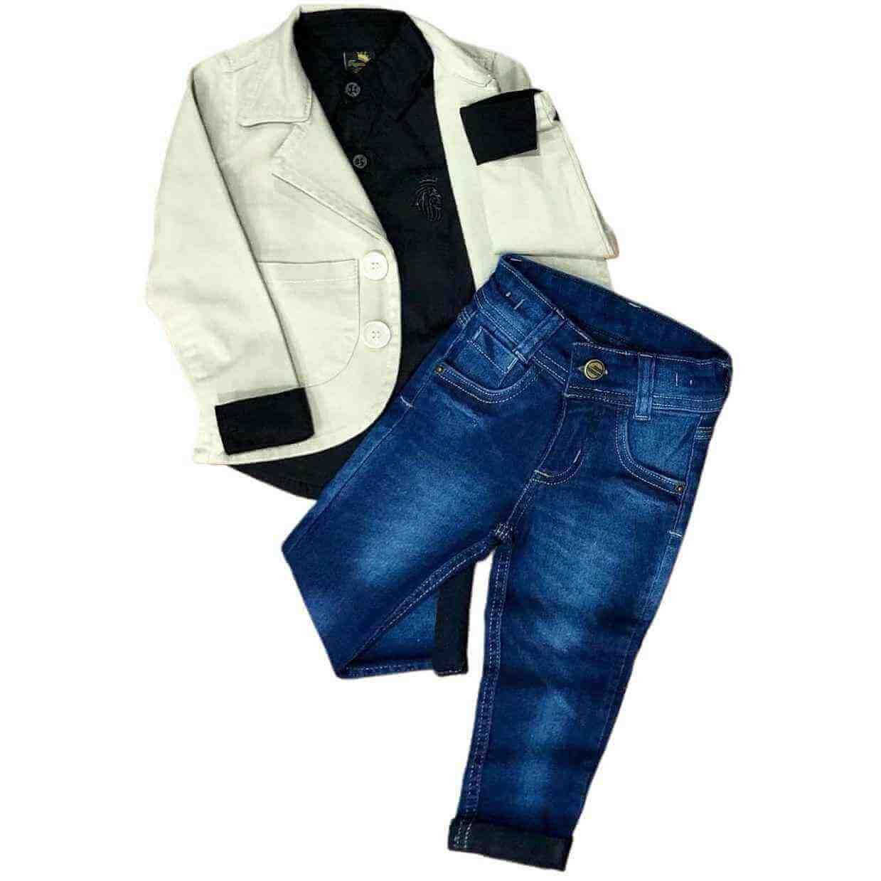 Look Social com Blazer e Calça Jeans Infantil