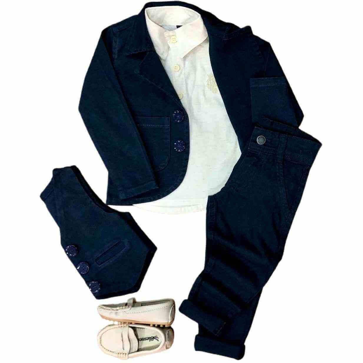 Look Social com Colete e Calça Jeans Infantil
