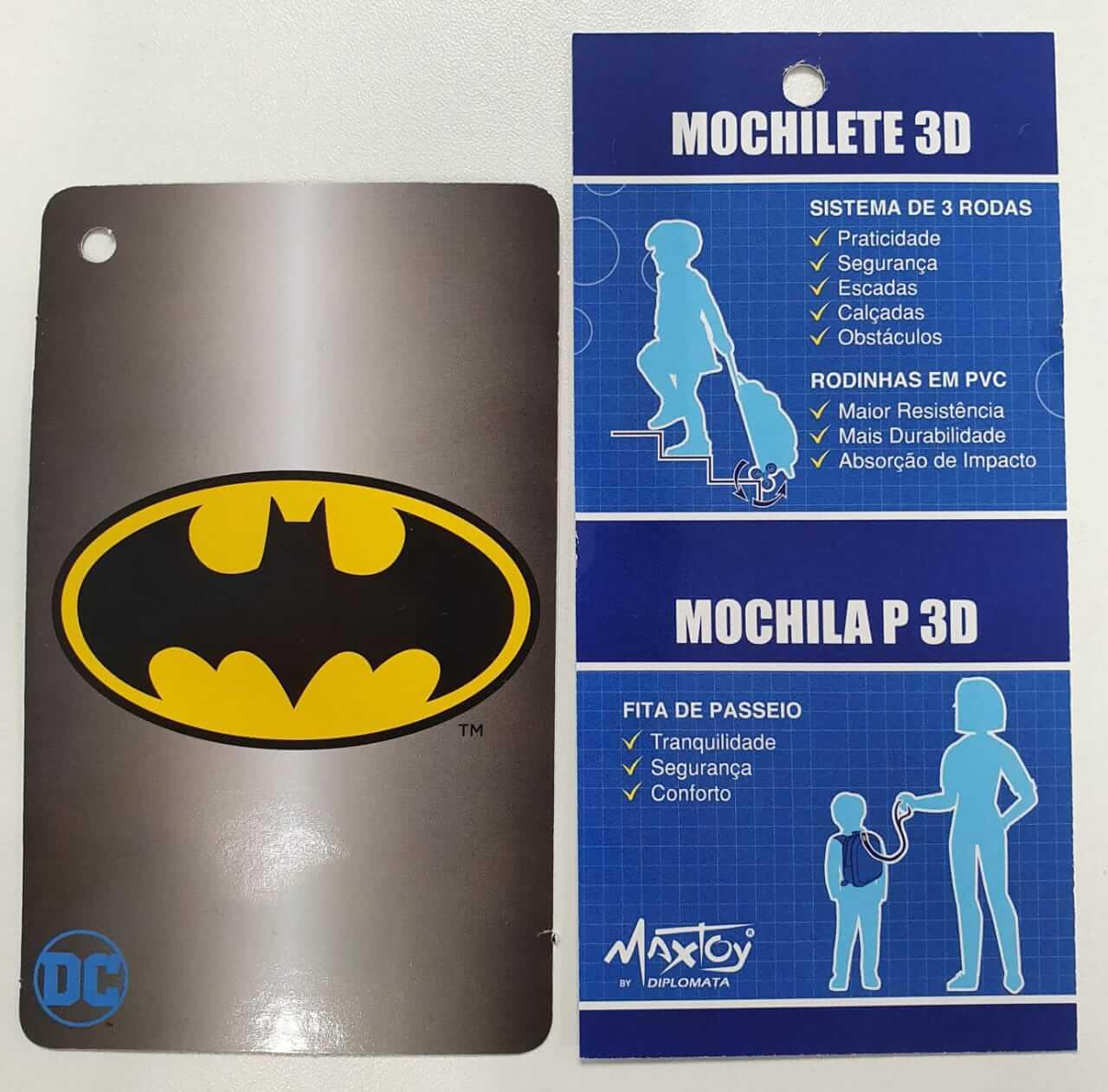 Mochila 3D com Rodinhase com Lancheira Batman Infantil