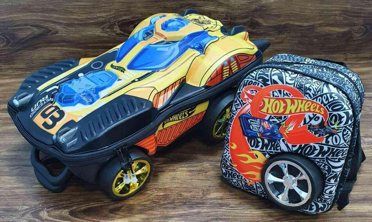 Mochila 3D de Rodinhase e Lancheira Hot Wheels Dune Dourado Infantil