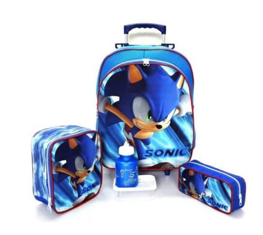 Mochila com Rodinhas Lancheira e Estojo Sonic Infantil