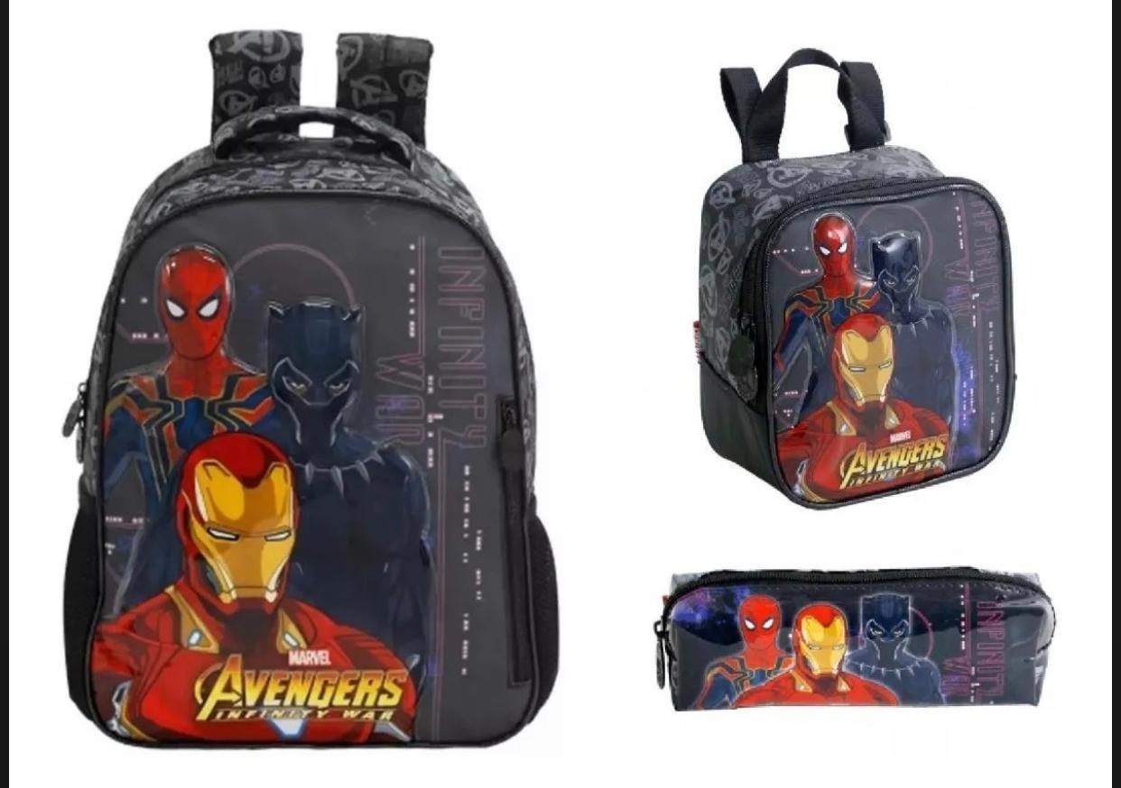 Mochila de Costas Avengers com Lancheira e Estojo