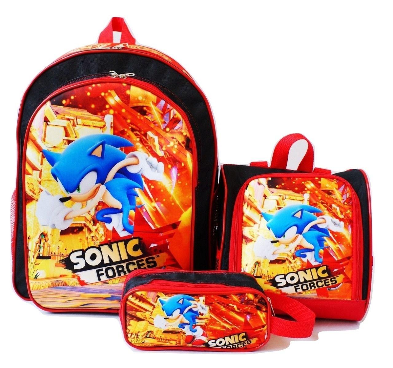 Mochila de Costas com Lancheira e Estojo Sonic