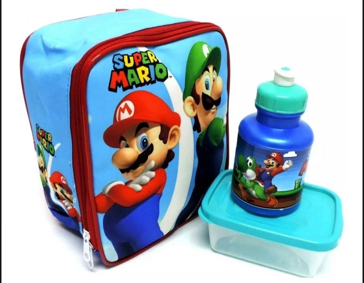 Mochila de Costas Super Mario com Lancheira e Estojo