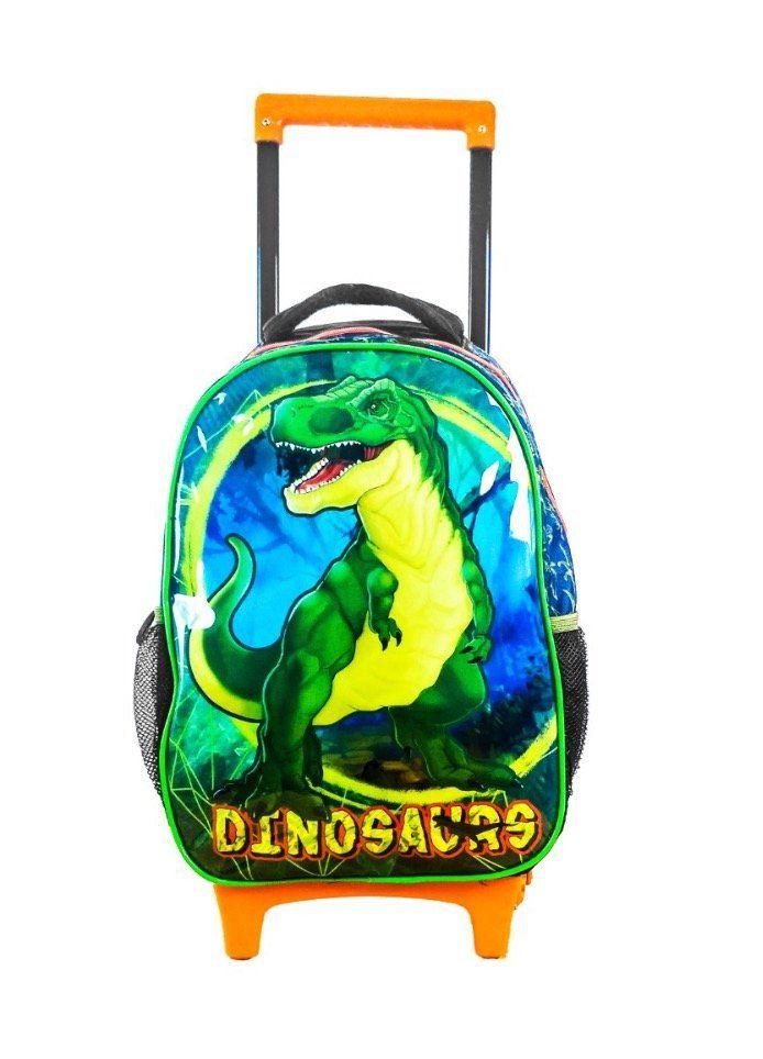 Mochila de Rodinha com Lancheira e Estojo de Dinossauro