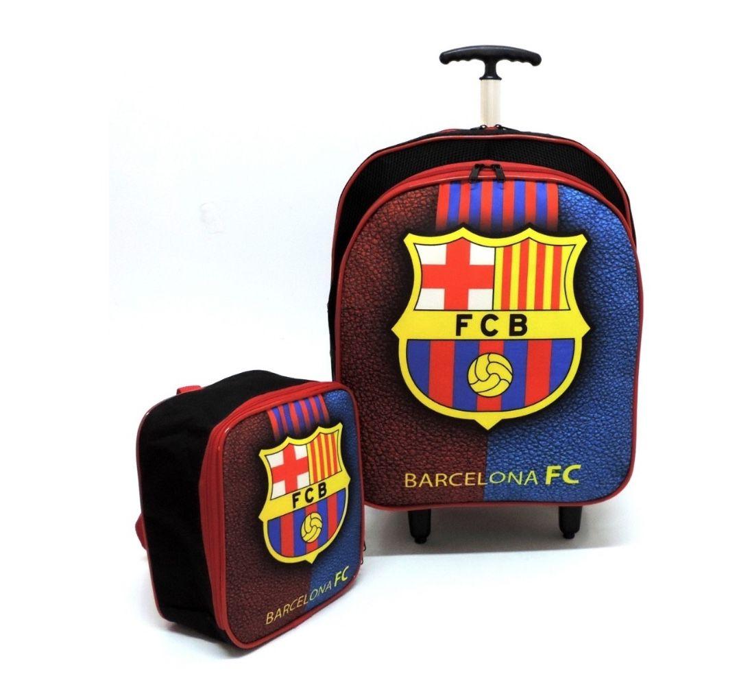Mochila de Rodinhas Barcelona FC com Estojo