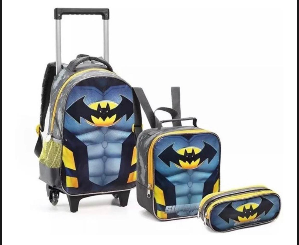 Mochila de Rodinhas Batman com Lancheira e Estojo