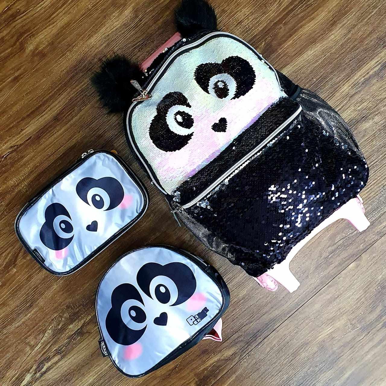 Mochila de Rodinhas com Lancheira e Estojo Panda