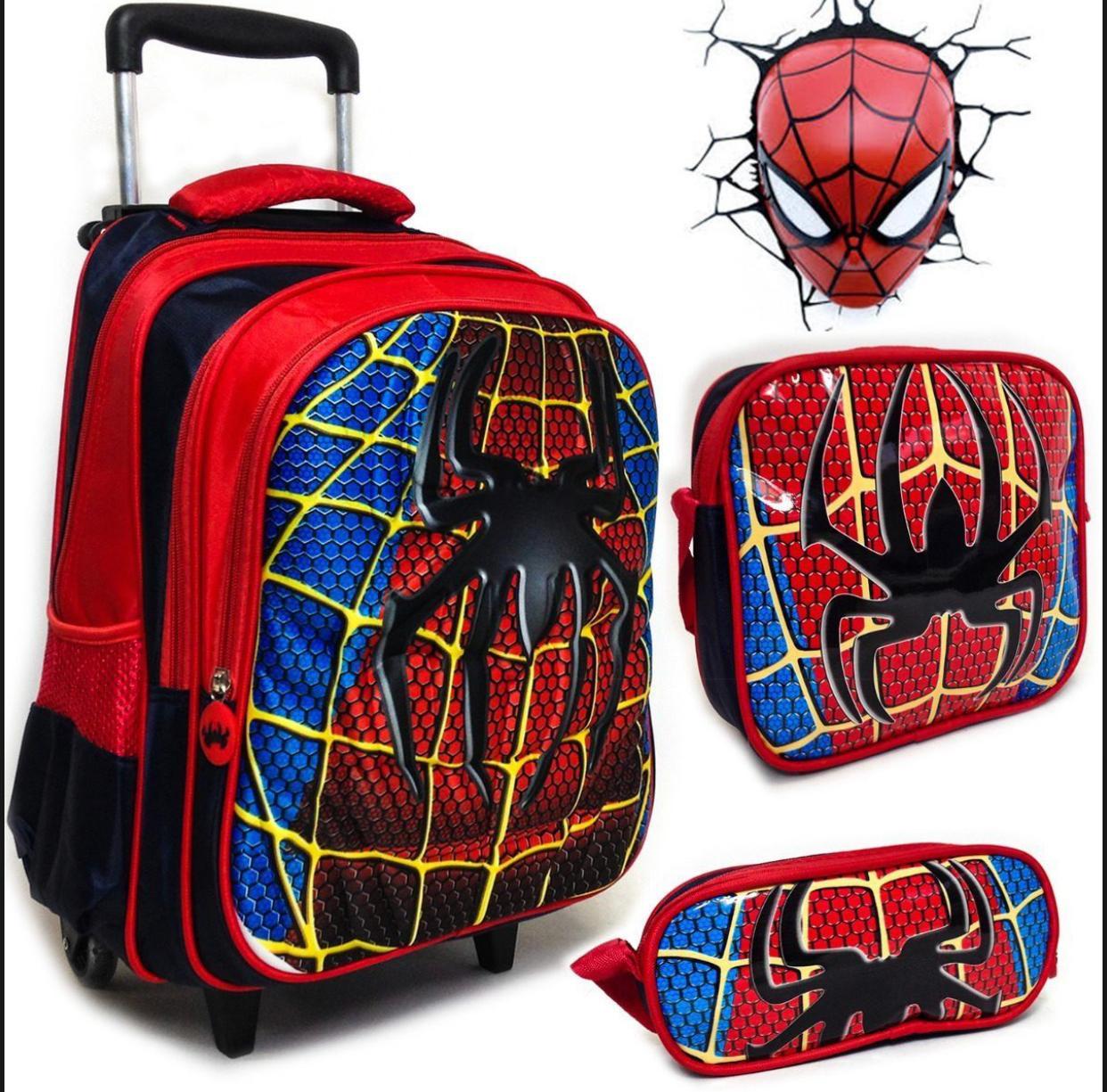 Mochila de Rodinhas Homem Aranha com Lancheira e Estojo