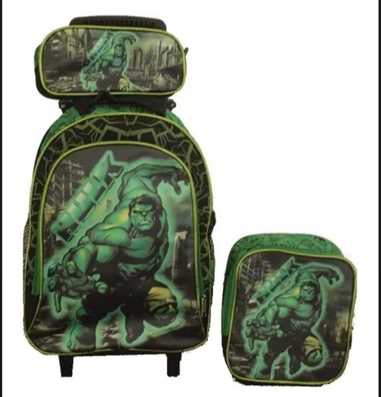 Mochila de Rodinhas Hulk com Lancheira e Estojo