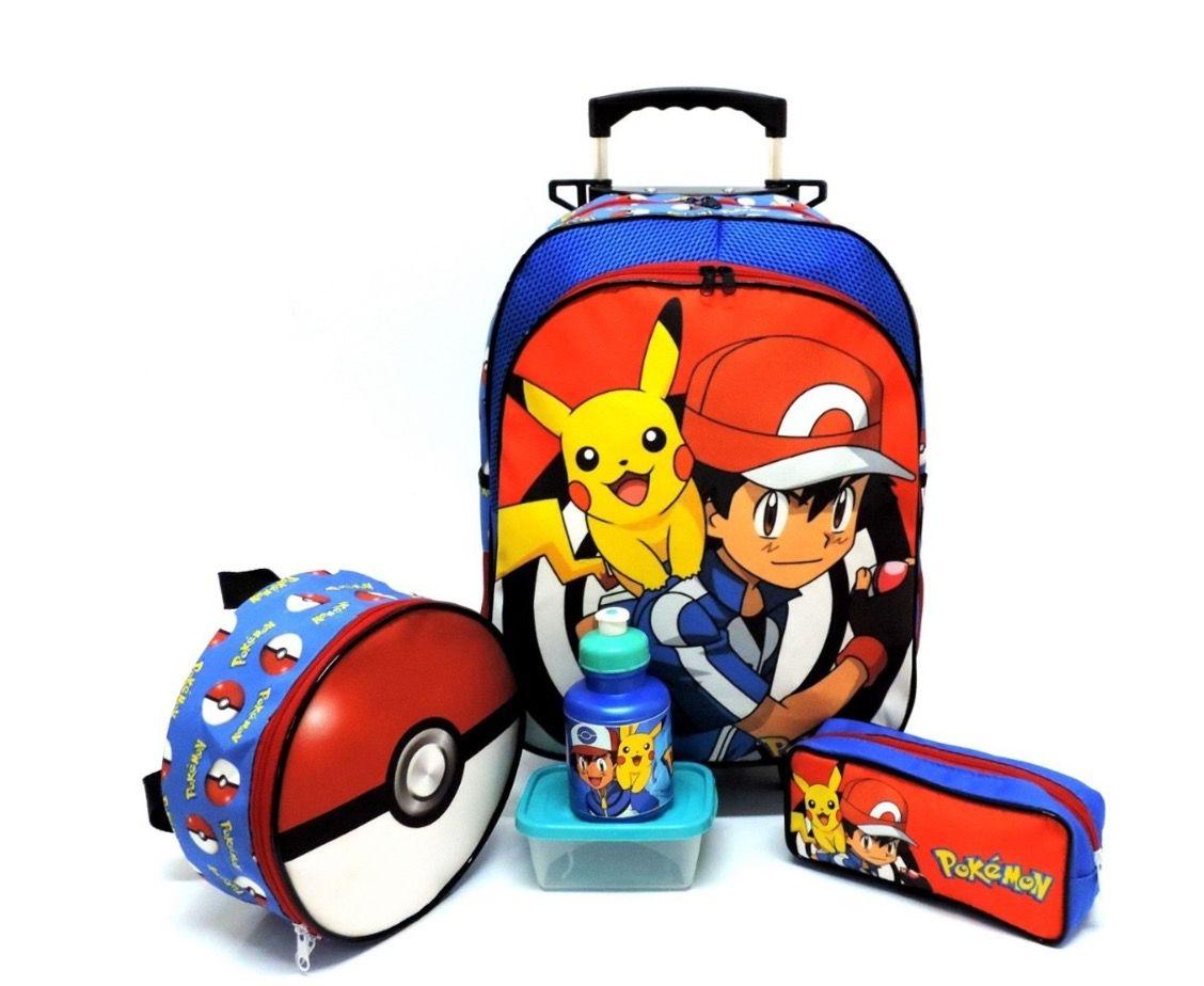 Mochila de Rodinhas Pokémon com Lancheira e Estojo